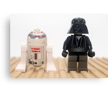 Star wars action figure Darth Vader and R2D2  Canvas Print