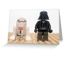 Star wars action figure Darth Vader and R2D2  Greeting Card
