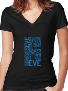 Eve 6 Typography Shirt - Blue Women's Fitted V-Neck T-Shirt