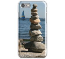 A tall pile of balanced stones at the Beach iPhone Case/Skin