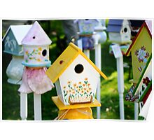 Bright Colored Birdhouses Poster