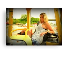 Ashley and the heavy equipment Canvas Print