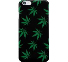 Weed Leaf Green on Black iPhone Case/Skin
