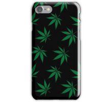 Weed Leaf Green on Black iPhone Case/Skin