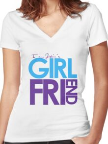 I Am Justin's Girlfriend (Blue & Purple) Women's Fitted V-Neck T-Shirt