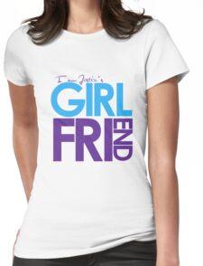I Am Justin's Girlfriend (Blue & Purple) Womens Fitted T-Shirt