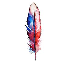 Red Spirit Feather Watercolor Photographic Print
