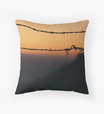 Sunset and barbed wire at Big Sur, California. Throw Pillow