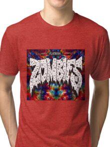 FBZ Red & Blue Tie dye background Tri-blend T-Shirt