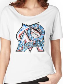 MARLINS WHITE Women's Relaxed Fit T-Shirt
