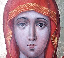 Valaam icon of the Mother of God. Detail. by Alla Melnichenko