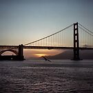 Golden Gate Bridge - Sunset From Torpedo Wharf by Rodney Johnson