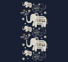 Elephants in Navy  One Piece - Short Sleeve