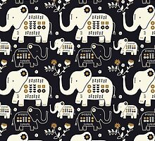 Elephants in Navy  by limegreenpalace