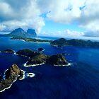 Panorama of Lord Howe Island and Balls Pyramid  by john  Lenagan
