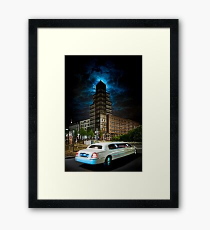 The stretch limo and the moon Framed Print