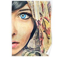 Blue Eye classic digital watercolor portrait painting Poster