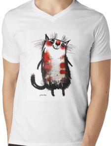 The optimistic Belka cat by ozozo Mens V-Neck T-Shirt