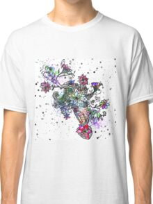 Trendy colorful watercolor hand painted floral Classic T-Shirt