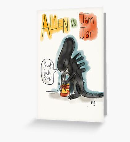 Alien Vs Jam Jar Greeting Card