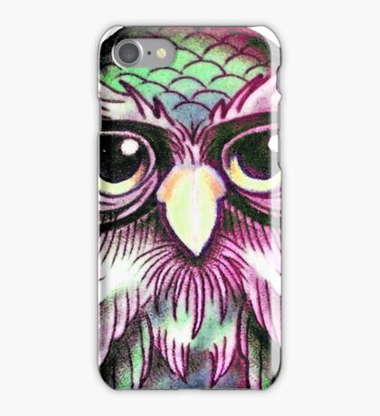 Funny Colorful Tattoo Wise Owl With Glasses  iPhone Case/Skin