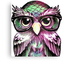 Funny Colorful Tattoo Wise Owl With Glasses  Canvas Print