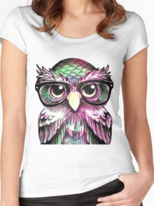 Funny Colorful Tattoo Wise Owl With Glasses  Women's Fitted Scoop T-Shirt