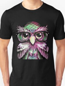Funny Colorful Tattoo Wise Owl With Glasses  T-Shirt