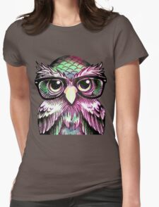 Funny Colorful Tattoo Wise Owl With Glasses  Womens Fitted T-Shirt
