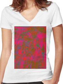 1050 Abstract Thought Women's Fitted V-Neck T-Shirt