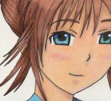 anime girl in colored pencils  Sticker