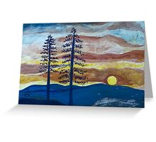 Sunset with Pine Trees Greeting Card