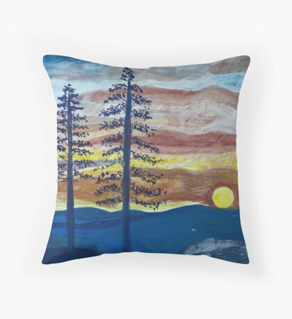 Sunset with Pine Trees Throw Pillow