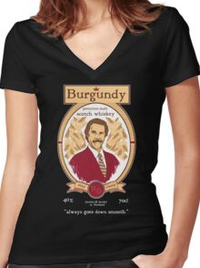 Burgundy Scotch Women's Fitted V-Neck T-Shirt