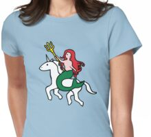 Mermaid Riding Unicorn Womens Fitted T-Shirt