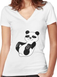 Panda Bear Cub Women's Fitted V-Neck T-Shirt
