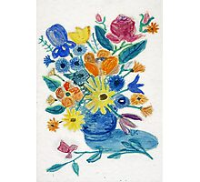 Mixed Flowers in Blue Bowl Photographic Print