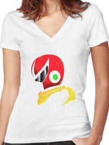 Protoman Helmet Shirt Women's Fitted V-Neck T-Shirt