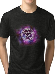 Wiccan Galaxy Pentagram Tri-blend T-Shirt