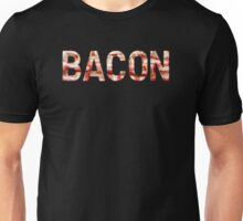 Bacon - Glass Lettering - Woven Strips Photograph Unisex T-Shirt