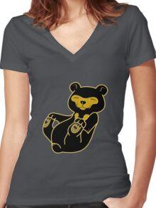 Sun Bear Cub Women's Fitted V-Neck T-Shirt