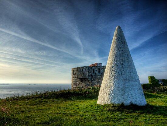 Navigation marker & Fort Tourgis on Alderney by NeilAlderney