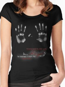 TOUCHED BY AN ANGEL - HE LEARNED IT FROM THE PIZZA MAN Women's Fitted Scoop T-Shirt