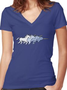 Unicorn Narwhal Evolution Women's Fitted V-Neck T-Shirt