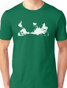 Upside Down World Map New Zealand Unisex T-Shirt