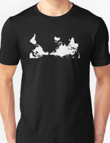 Upside Down World Map New Zealand T-Shirt