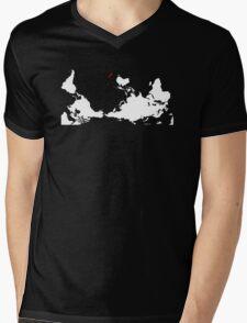 Upside Down World Map New Zealand Mens V-Neck T-Shirt
