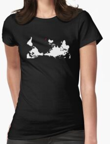 Upside Down World Map New Zealand Womens Fitted T-Shirt
