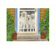 Great Pyrenees Dogs Porch Cathy Peek Animals Art Print