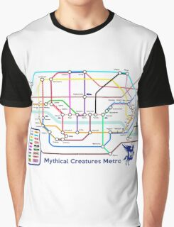 Epic Mythical Creatures Underground Map Graphic T-Shirt